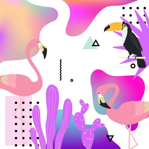 Trendy fluid background with flamingo, toucan and tropical leaves vector