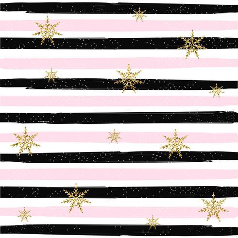 Padrão sem emenda de flocos de neve brilhante ouro na ilustração vetorial de fundo listrado