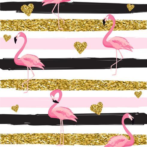 Ouro brilhante corações e flamingos padrão sem emenda na ilustração vetorial de fundo listrado