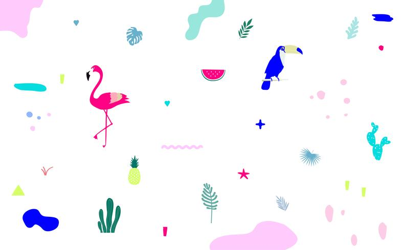 Tropical jungle leaves background with flamingo and toucan. Summer vector illustration design