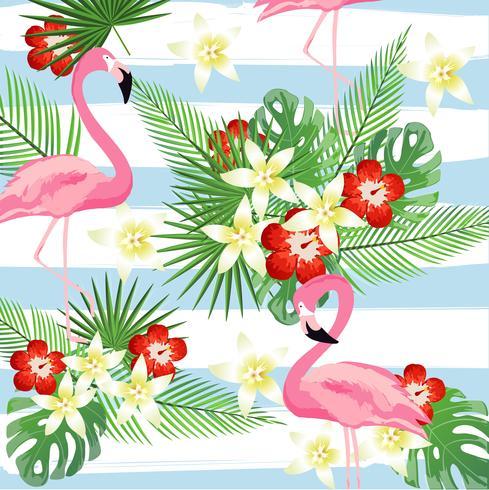 Flamingo und Tropenblätter auf nahtlosem Musterhintergrund der Streifen