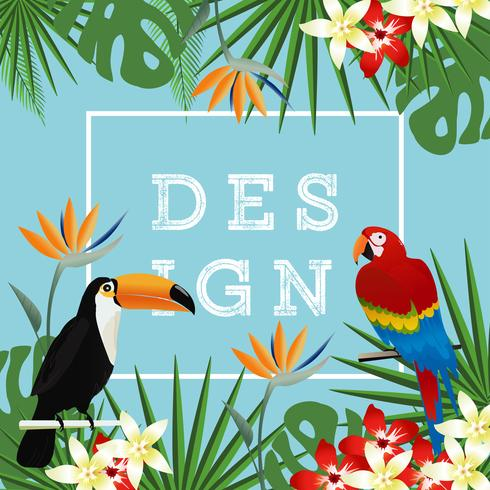 Tropical background with toucan, flamingo and tropical leaves