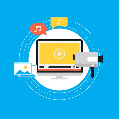 Video marketing campaign, online promotion, digital marketing, internet advertising flat vector illustration
