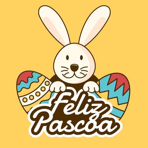 Vector de tipografía Feliz Pascoa