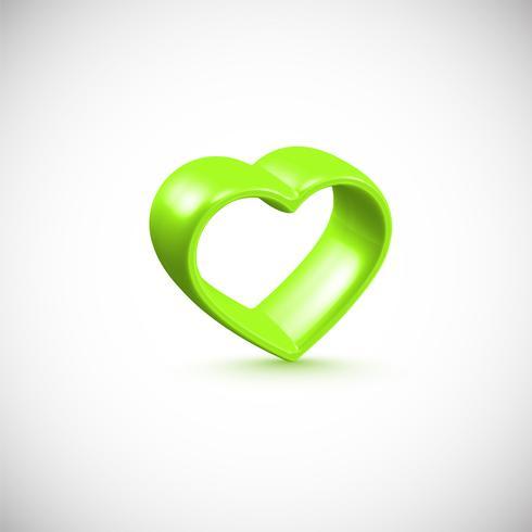 Green 3D heart frame, vector illustration