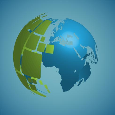 Globo do mundo sobre um fundo azul, ilustração vetorial
