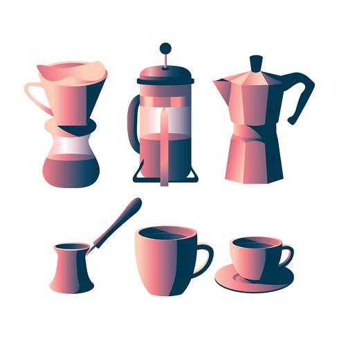 Kaffe Utrustning ClipArt Set