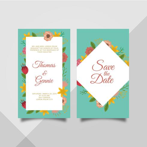 Flat Flower Frame Wedding Invitation Card Template