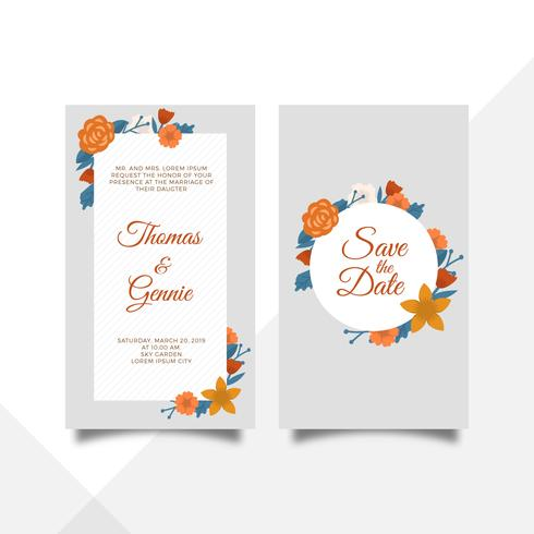 Flat Floral Wedding Invitation Card Vector Template