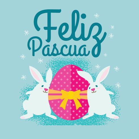 Simpatico coniglietto di Pasqua con illustrazione di uova per Feliz Pascua