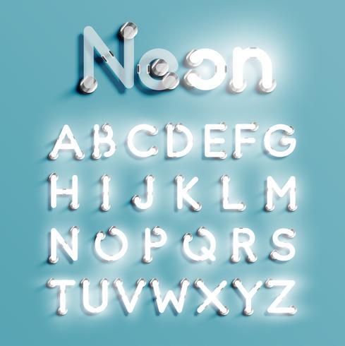 Conjunto de caracteres de néon realista, ilustração vetorial