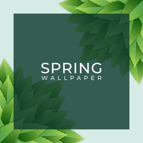 Spring Design Square Element With Green Leaves Background ...