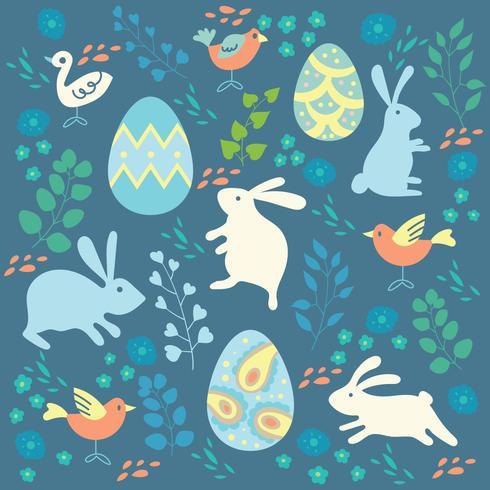 Joyeuses Pâques fond avec des lapins colorés, des oeufs et des oiseaux