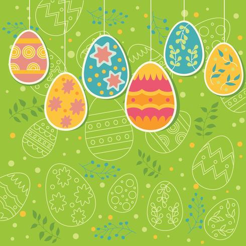 Ornamento de ovos multicoloridos com padrão de ovos de Páscoa no fundo