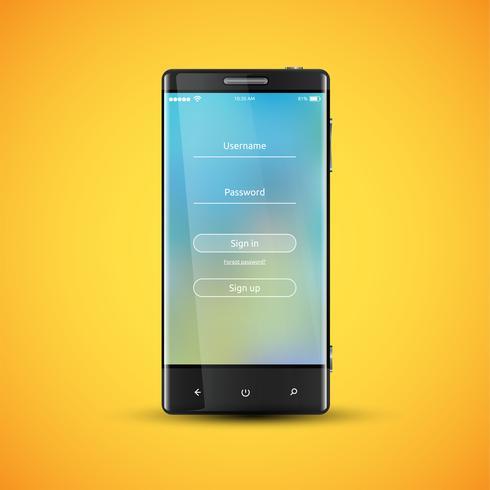 Einfache und bunte UI-Oberfläche für Smartphones - Login-Bildschirm, Vektor-Illustration