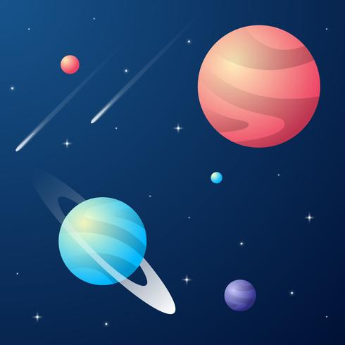 Galaxia con nebulosa, planeta y estrellas espacio fondo