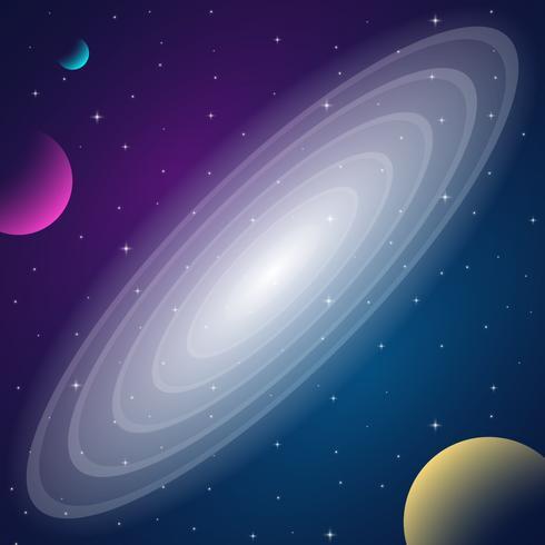 Space Galaxy Med Nebula, Planet Och Stjärnor Bakgrund