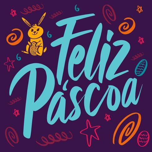 Feliz Pascoa Lettering Färgglada Sammansättning Mönster Illustration