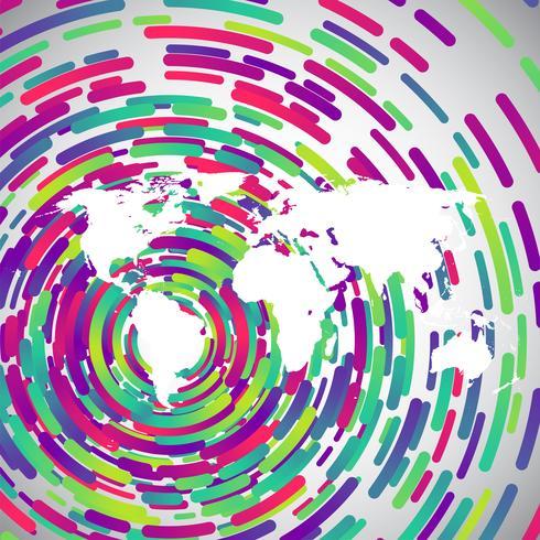 Carte du monde abstrait avec des cercles colorés pour la publicité, vecteur