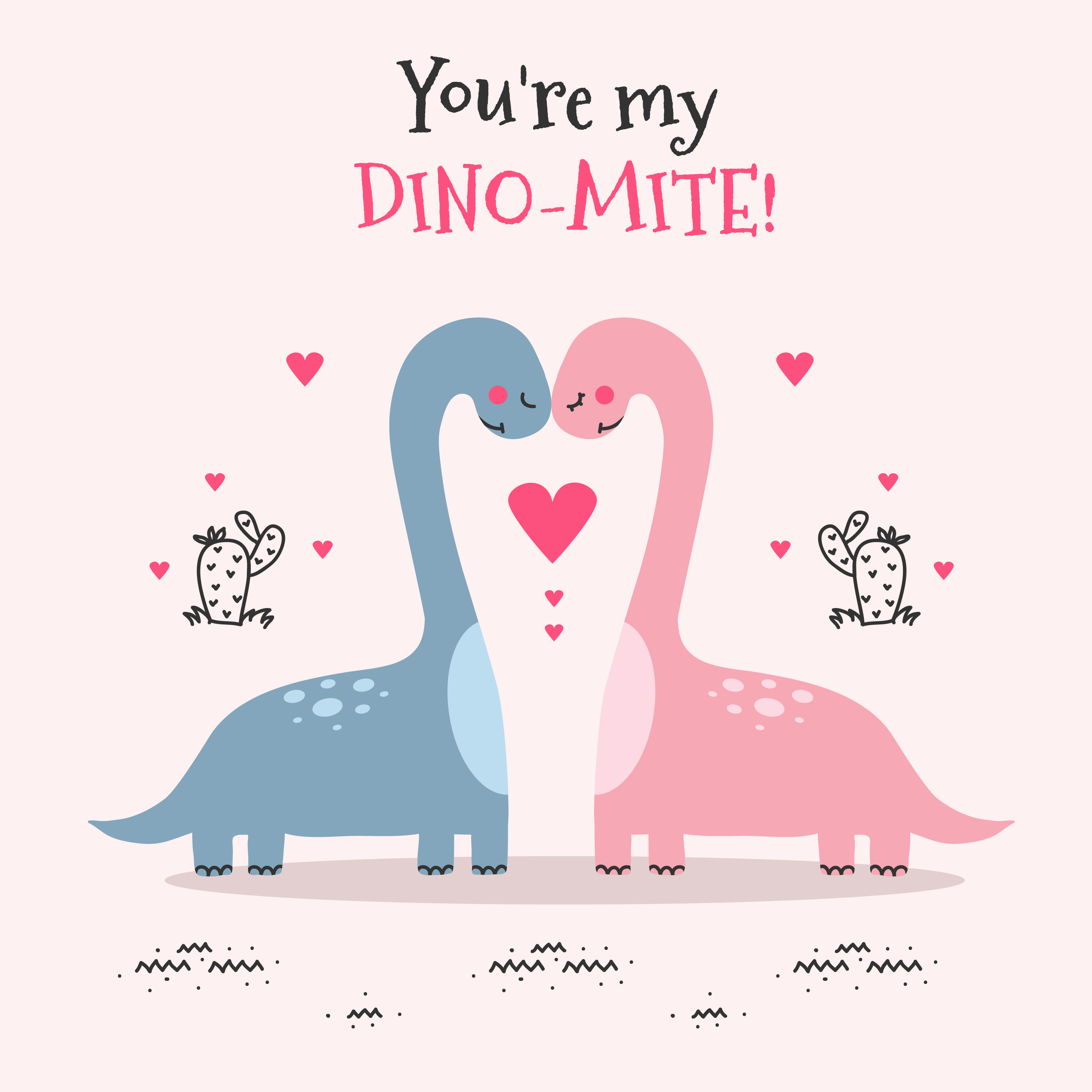 Colorful Art Studio Card: You're My Dino-Mite Valentine's Day Card