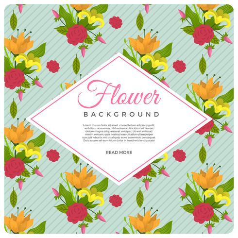 Flache Weinlese-Art-Blumen-Vektor-Hintergrund-Schablone