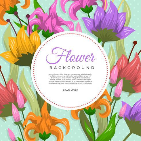 Modèle de fond de vecteur de fleur décorative plat
