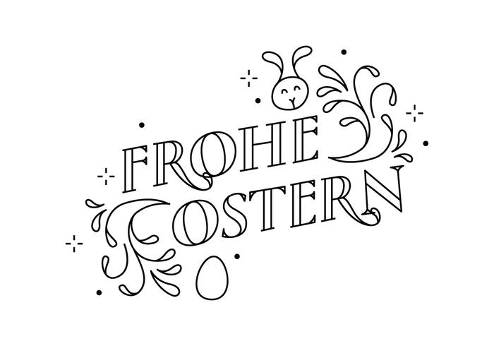 Frohe Ostern Swirl Typography