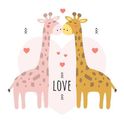 Vetor de fundo de vetor de girafa dos namorados