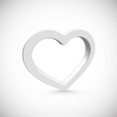 Marco 3D corazón blanco, ilustración vectorial