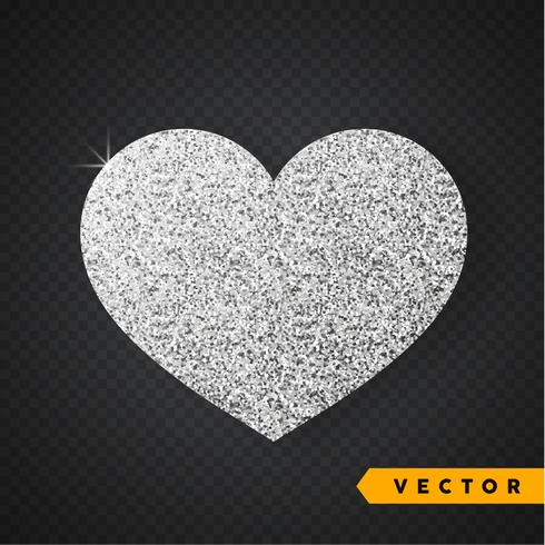 Vektor Silver glitter hjärta. Valentinsdag Vector Sparkles och Glitters. Holiday Design.