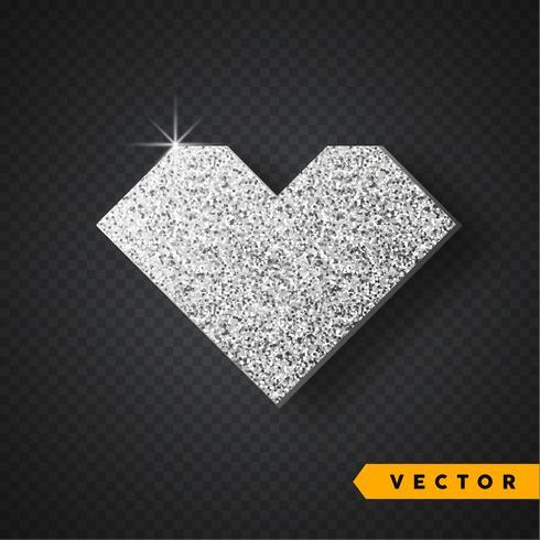 Vektor Silber funkelt Herz. Valentinsgruß-Tagesvektor funkelt und funkelt. Urlaub Design.
