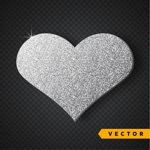 Vector Silver cuore di scintille. Scintillii e scintillio di San Valentino. Design delle vacanze.