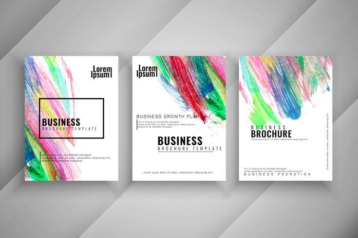 Abstraktes buntes Geschäft mit drei Geschäftsbroschüren