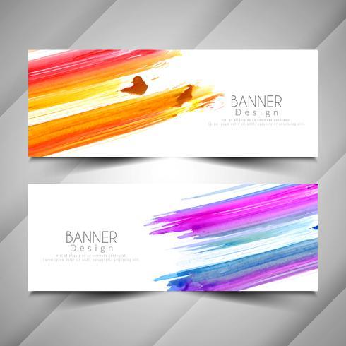 Conjunto de banners de acuarela colores elegantes abstractos