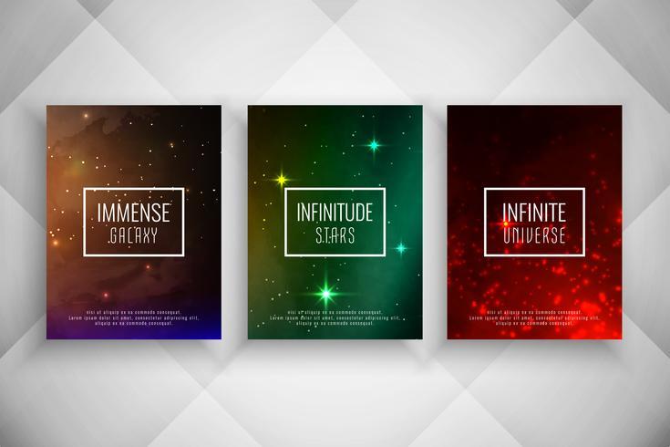 Resumen conjunto de plantillas de folleto de estilo galaxia vector