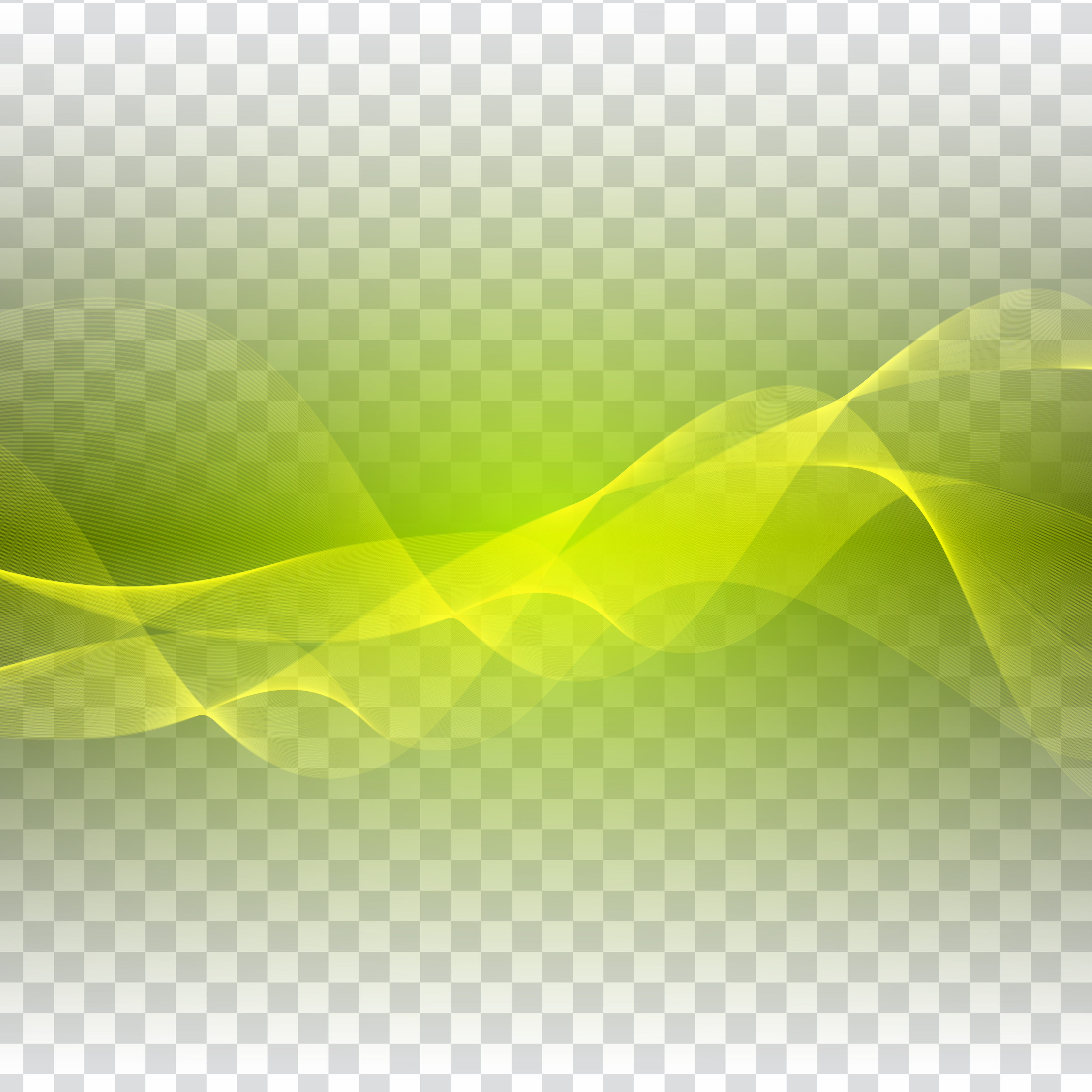 Abstract Green Wave Design On Transparent Background