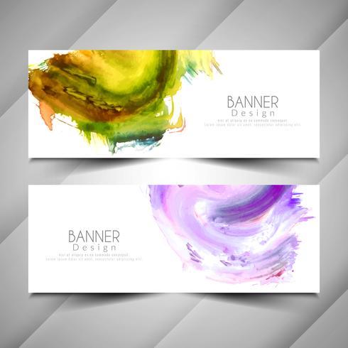Set di banner elegante acquerello colorato astratto