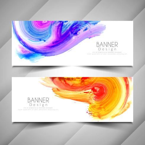 Abstracte moderne kleurrijke het malplaatjereeks van waterverfbanners