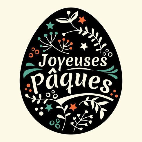 Happy Easter belettering of Joyeuses Pâques met eieren en bladeren achtergrond