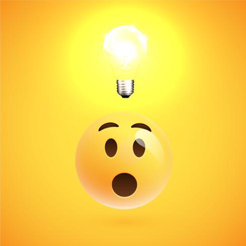Émoticône jaune se demandant réaliste avec un ligtbulb, illustration vectorielle