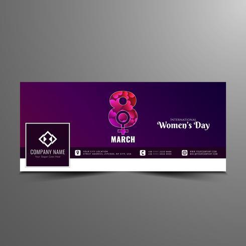 Modello elegante della bandiera di facebook della giornata delle donne astratte