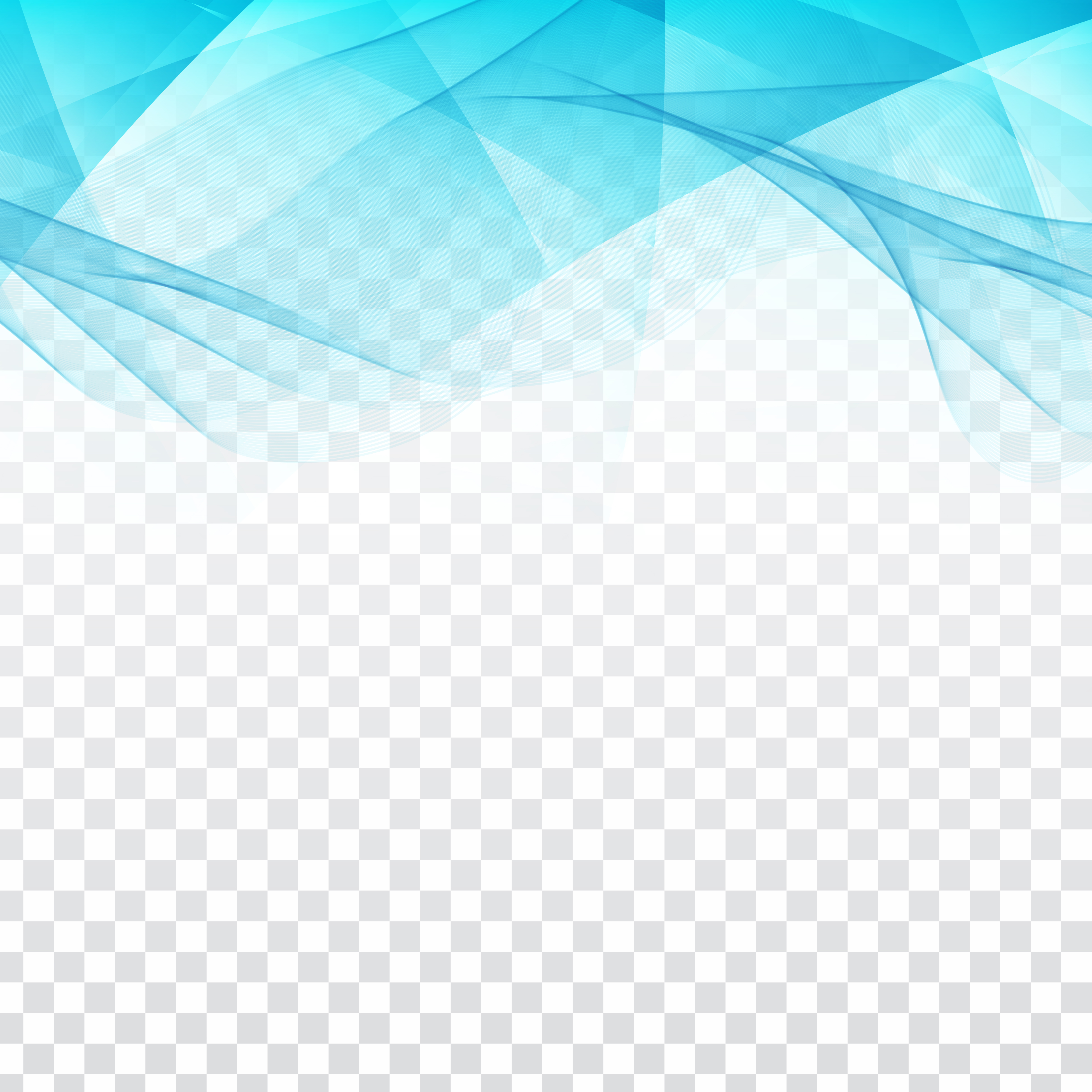 Abstract Modern Logo Of Blue Color:  Abstract Wavy Geometric Design On Transparent Background