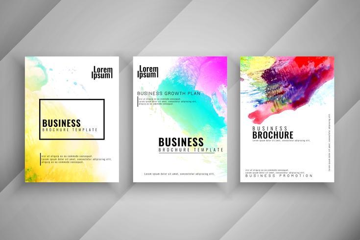 Abstracte aquarel stijlvolle zakelijke brochure sjabloon set