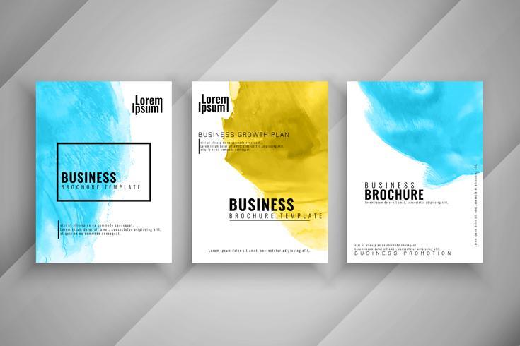 Conjunto de plantillas de folleto de negocio elegante acuarela abstracta vector
