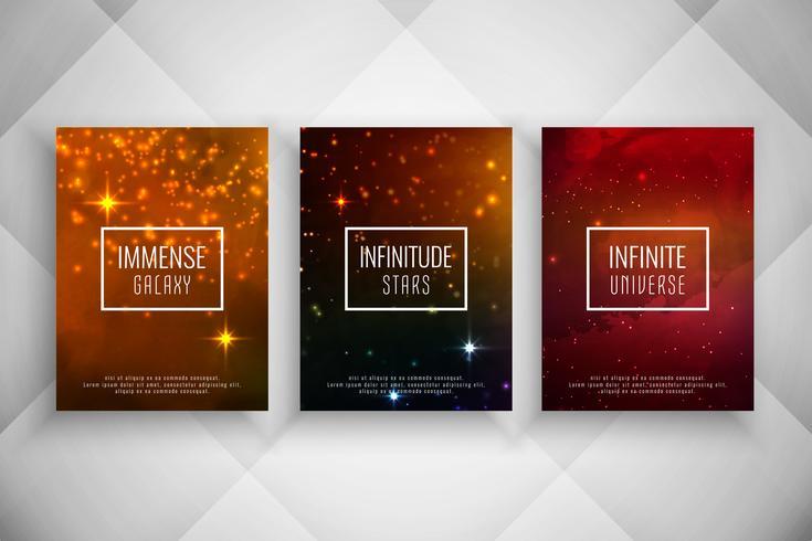 Conjunto de plantillas de folleto de estilo galaxia con estilo abstracto