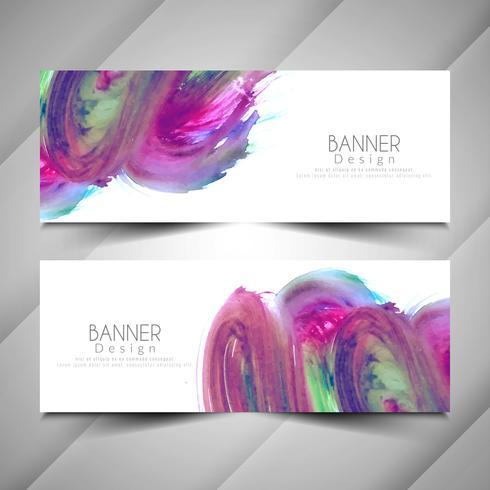 Conjunto de banners con estilo acuarela abstracta colorida