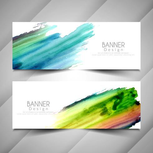 Abstracte elegante kleurrijke aquarel banners instellen
