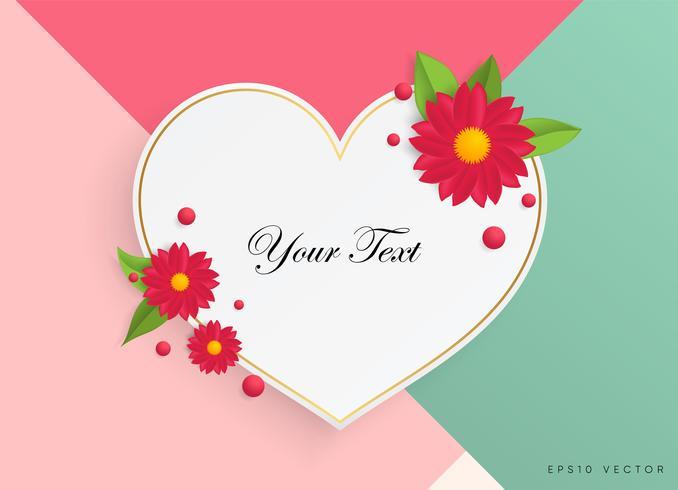 Textlåda med vackra färgglada blommor. Vektor illustration