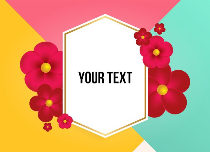 Text box with beautiful colorful flowers. Vector Illustration