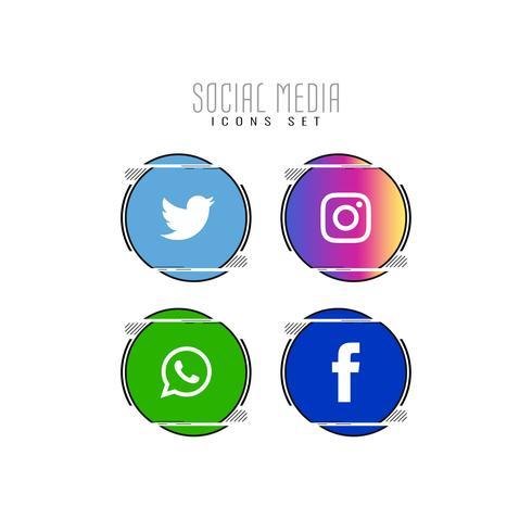 Jeu d'icônes abstraites de médias sociaux